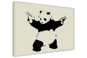 PANDA-WITH-GUNS-BANKSY-CANVAS-WALL-ART-PICTURES-POSTER-PRINT-HOME-DECORATION