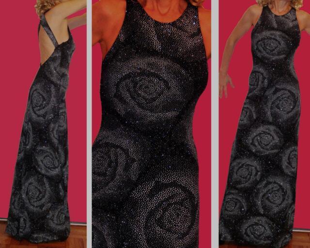 CACHE FITTING STRETCH BLACK LONG DRESS Silver Glitters FLOWER design OPEN BACK