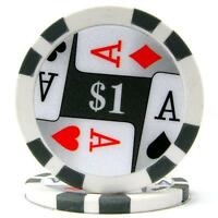 Trademark Poker Premium 4 Aces 100 Poker Chips (1-piece), 11.5gm, New, Free Ship