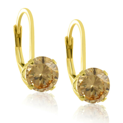 5mm Natural Gemstone Leverback Earrings in 18k Gold Plated Sterling Silver