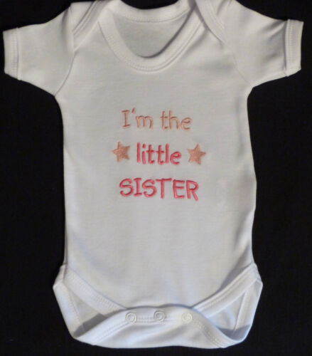I/'m The Little Sister Baby Vest Grow Babies Clothes Funny Gift Boy Girl Pink