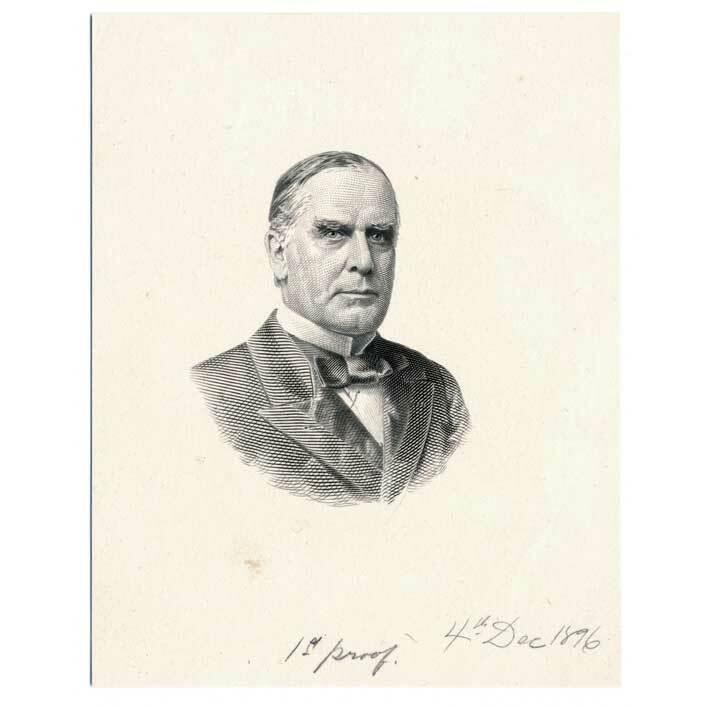 William McKinley Die Proof Engravings on india BEP, G.F