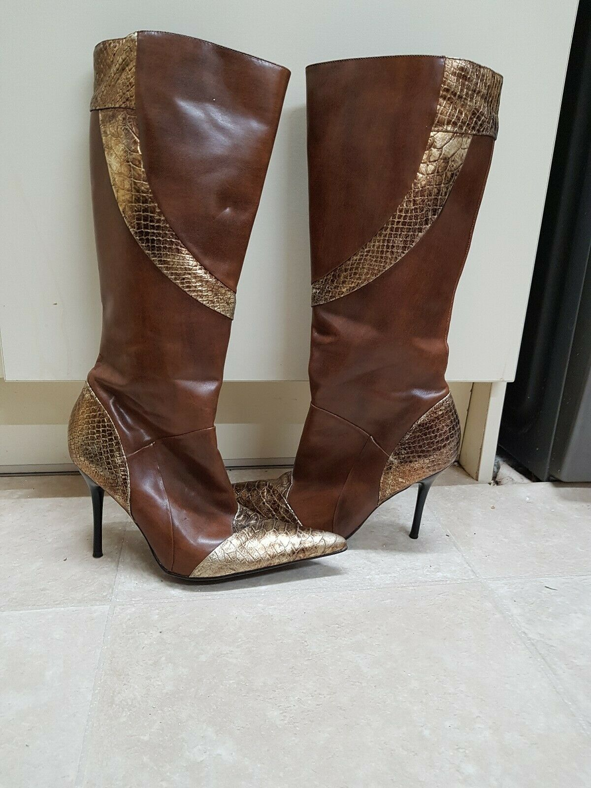 Aldo Femmes Bottes hautes métallisé or et marron UNIQUE Designer Chaussures Uk6