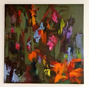 Details About Modern Contemporary Acrylic On Canvas Abstract Painting Field Of Flowers Signed