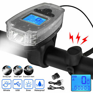 USB-Rechargeable-LED-Bicycle-Headlight-Bike-Speedometer-Front-Light-w-Bell-Horn