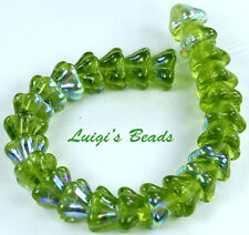 10 Olivine AB Bell Flower Czech Glass Beads 8MM