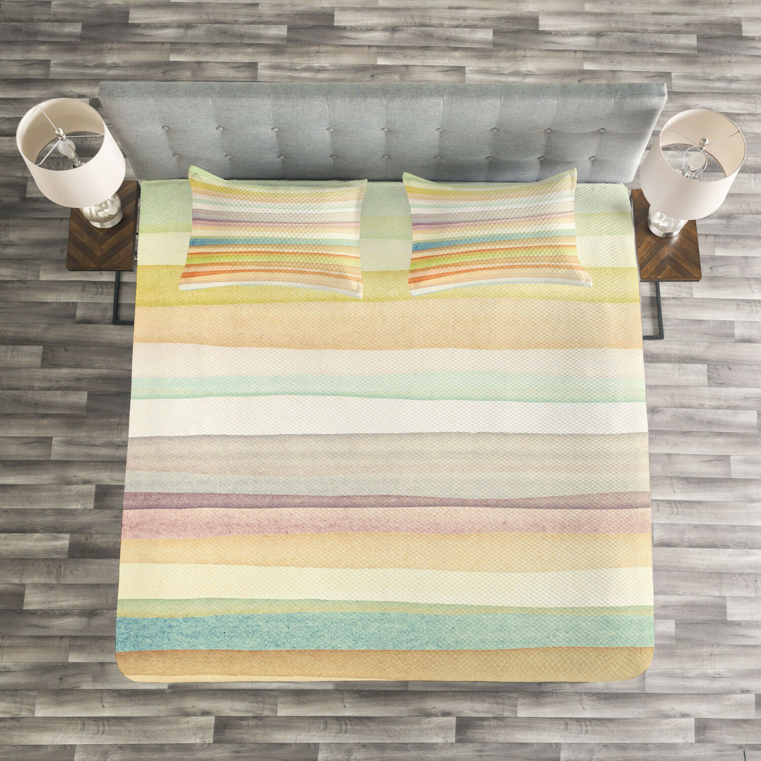 Pastel Quilted Bedspread & Pillow Shams Set, Stripes WaterFarbe Art Print