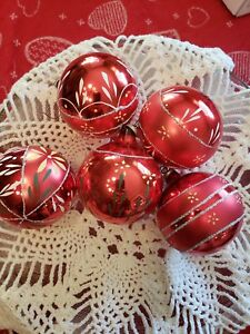 5-Vintage-Ball-Christmas-Tree-Glass-Ornaments-Hand-Painted-Floral-Design-Glitter