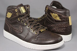 new product 4cfde 851ea Image is loading Air-Jordan-Retro-1-Pinnacle-Baroque-Brown-Croc-