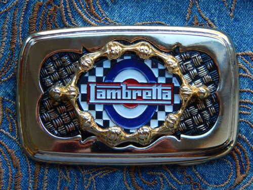 NEW HANDCRAFTED IN THE U.K SCOOTER LAMBRETTA MOD BELT BUCKLE GOLD//BLACK METAL