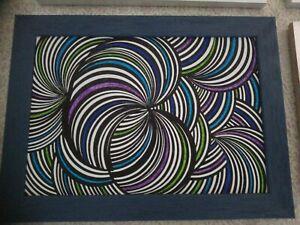 Tableau abstrait papier A4 feutres cadre bois bleu