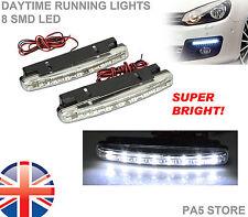 2x 8 LED Daytime Running Lights XENON White SUPER BRIGHT Bulbs Waterproof NEW UK