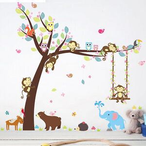 Monkey-Animal-Wall-Stickers-Jungle-Zoo-Tree-Nursery-Baby-Kids-Room-Decal-Art-DIY