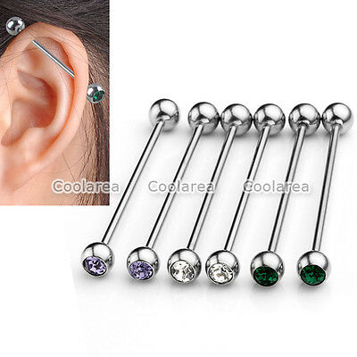 3 Pair Crystal Steel 14g Long Industrial Cartilage Bar Stud Ear Earring Piercing
