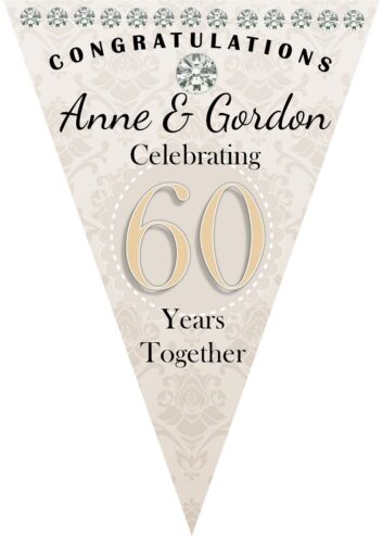 Details about  /Personalised 60th Diamond Wedding Anniversary Flag Banner Bunting N45-10 Flags