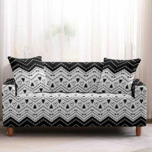 Black /& White Geometric Bohemian Sofa Couch Cover Slipcover