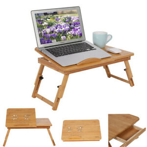 Laptoptisch Bambus Computertisch Höhenverstellbar Faltbar Ständer Betttablett PE