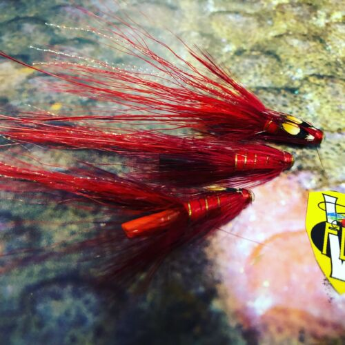 3 V Fly 3//4 Inch Birgham Red Raptor Shrimp Copper Salmon Tube Flies /& 3 Trebles