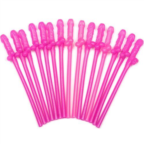 Rose Fluo Willy paille pack de 15 nouveauté pailles Hen Party accessoires