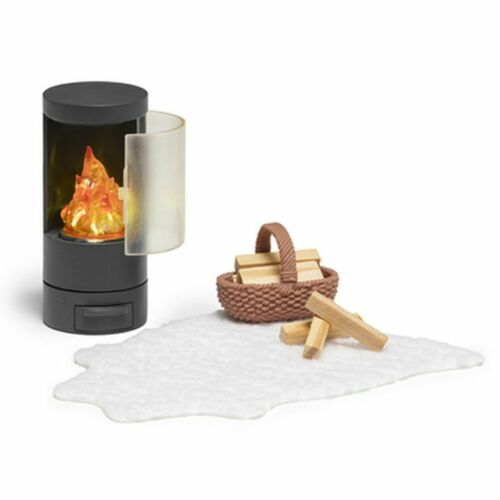 Chimenea LED batería casa de muñecas Lundby fuego cesta de madera