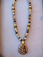Stunning Ammonite Fosil Gemstone Pendant Necklace With Agate Beads