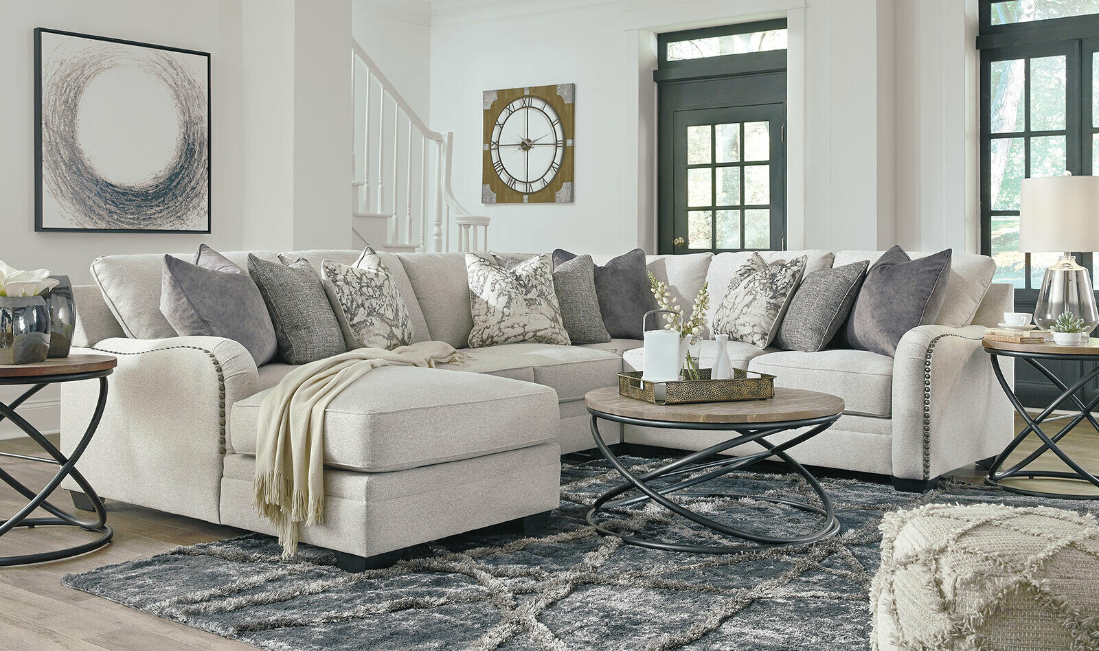 New Sectional Living Room Furniture 4pcs Light Gray Fabric Sofa Chaise Set G0n