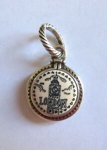 Brighton-TRAVEL-LONDON-Charm-black-amp-White-Queen-for-a-Day-crown-Big-Ben-round