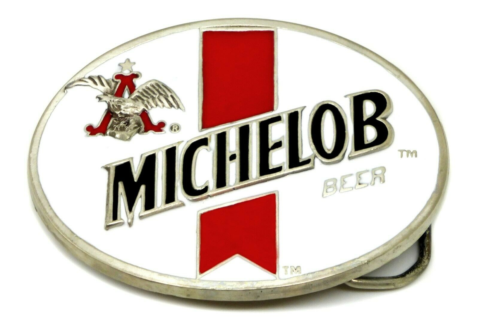 MICHELOB Beer White Belt Buckle Budweiser Authentic Officially Licensed Product
