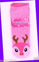 Bath Body Works Tickled Pink Reindeer Red & Brown Shea-infused Lounge Socks Soft