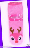 Bath Body Works Tickled Pink Reindeer Red & Brown Shea-infused Lounge Socks Soft