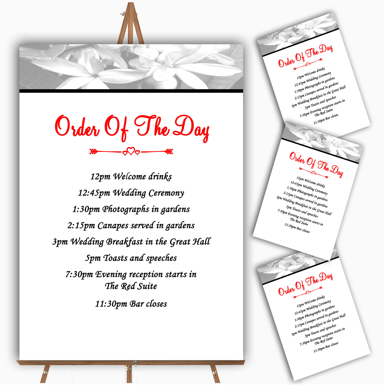 grau Lily Personalised Wedding Order Of The Day Cards & Signs