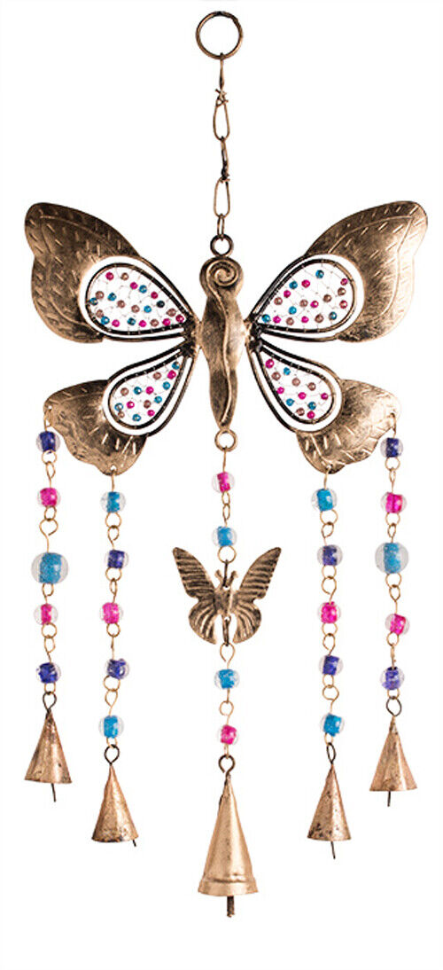 Metal Butterfly Windchime With Bells Glass Beads Hanging Mobile Indoor Or Garden