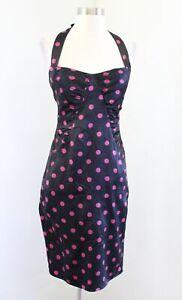Vtg 90s 00s Betsey Johnson Black Pink Polka Dot Silk Ruched Haler Dress Size 2