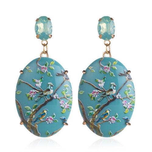 Women Trendy Geometric Acrylic Flowers Plants Drop Earrings Ear Studs JewelryLDU