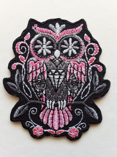 PRETTY PINK OWL EMBROIDERED IRON-OR SEW ON PATCH CUTE HIPPY UK SELLER
