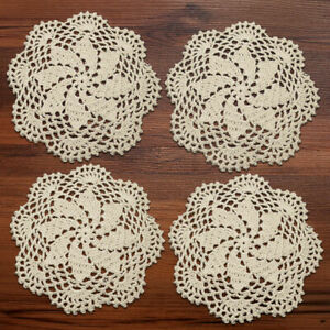 4Pcs/Lot Round Vintage Hand Crochet Cotton Doilies Table Mats Lace Applique 8""