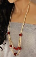 Ny6design Natural Pearl,red Coral & Flower Pendant Long Necklace 31 W/gift Box