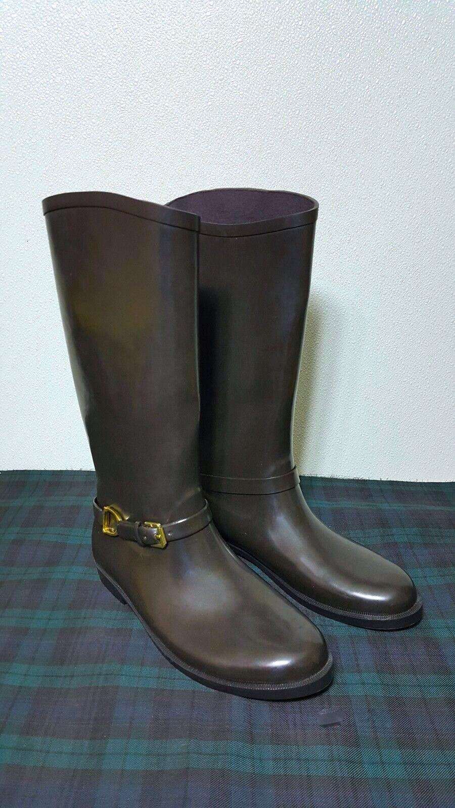 Ralph Lauren Collection Women's Equestrian Stir-rup Brown RainBoots  Sz 7.B