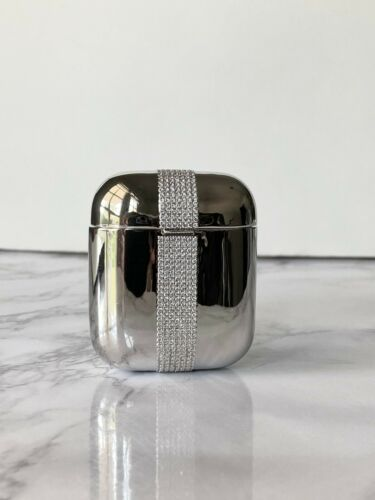 Airpods Icy Case 14k White Gold Finish Hip Hop Fits Generation 1 & 2 Stamp