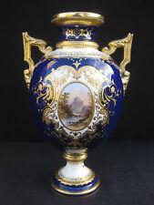 Coalport Cobalt Blue Vase with Raised Gilding and Hand painted Landscapes. c1900
