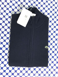Lana Cerniera Pure New Wool Cardigan Lacoste Uomo Blu Navy AH2999