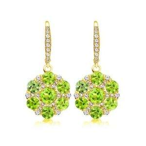 Flower-Peridot-amp-White-Topaz-Dangle-Earrings-in-Gold-Plated-Sterling-Silver