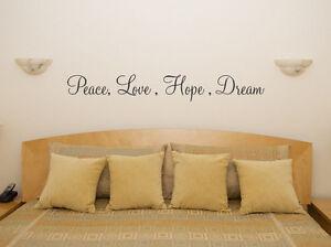 Detalles De Paz Amor Esperanza Sueño Lema Frase Cocina Dormitorio Adhesivo Pared Imagen