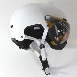 Damen-VISIER-SKIHELM-Skater-S-M-55-59-cm-verspiegelt-S2-Visierhelm-Weiss-Matt