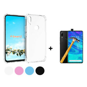 Cover-Case-TPU-Silicone-anti-Shock-Huawei-P-Smart-Z-Protector-Glass-Tempered