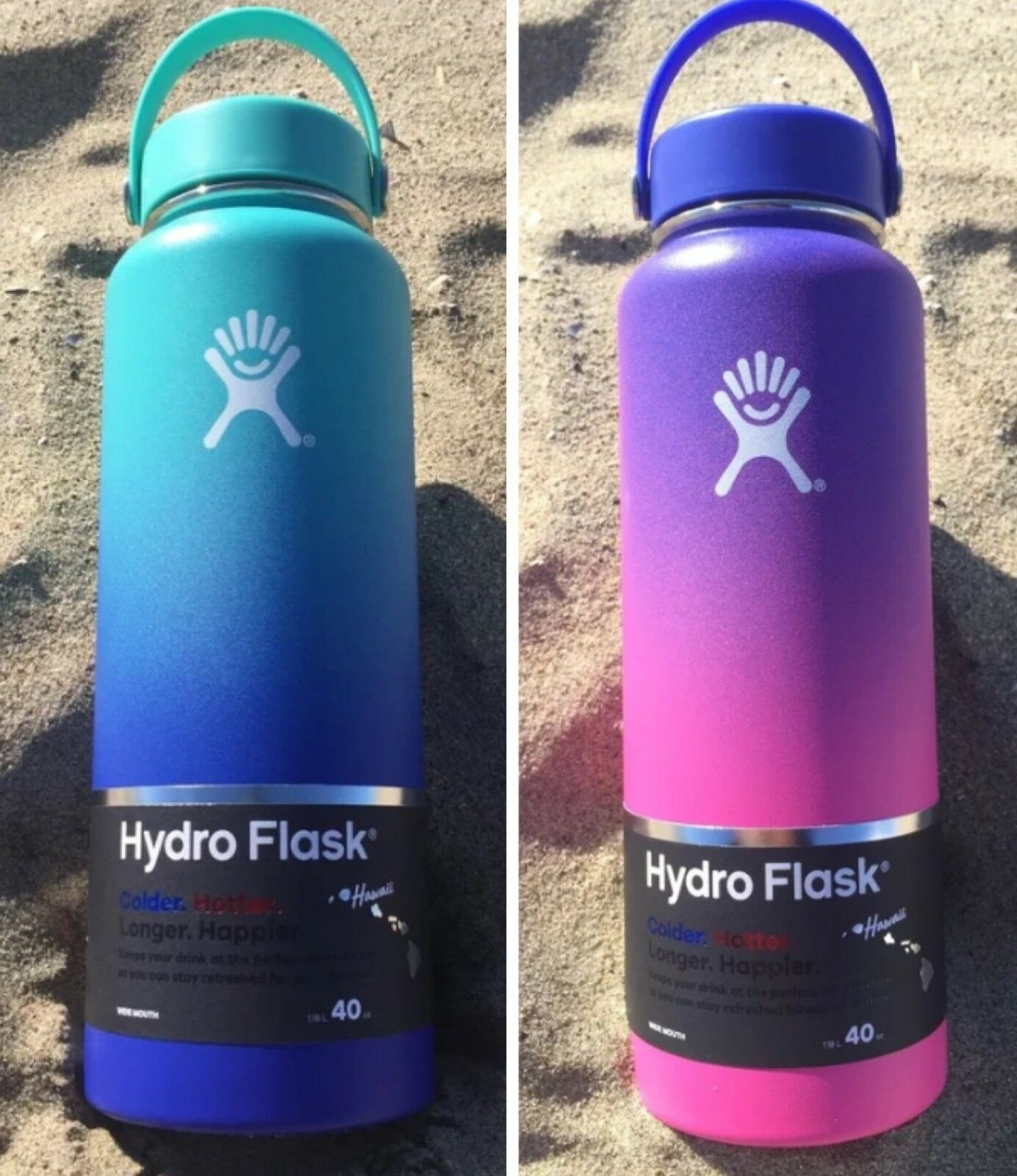 NEW Hydro Flask Ombre Limited Edition Hawaii Moana blu and Anuenue viola 40 oz