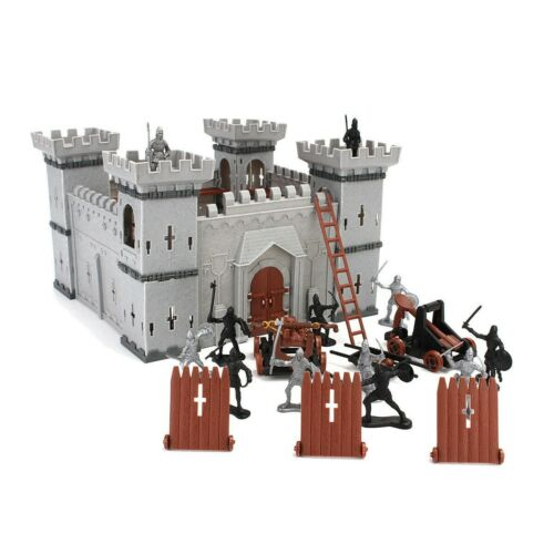Medieval Castle Model Knights Game Toy Catapult Soldiers Figures Playset Kit