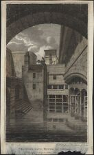 1805 Hughsons Antique Print View of Traitors Gate, Tower of London, England