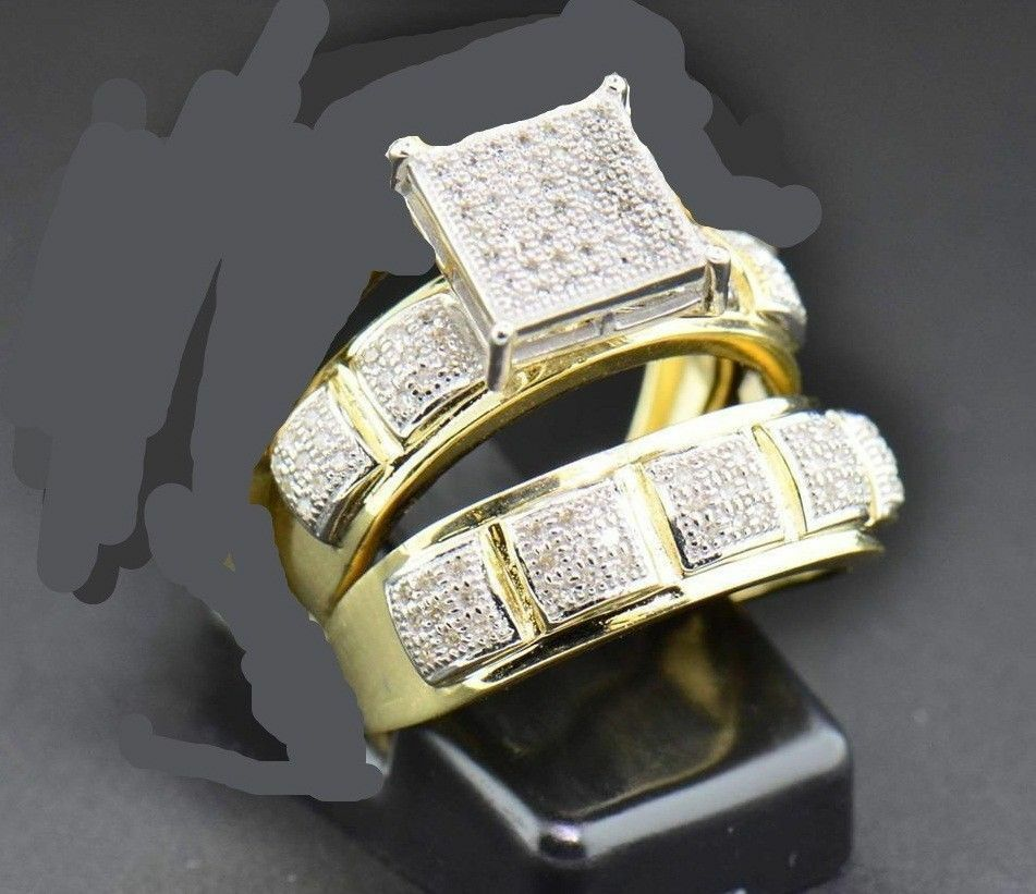 Ladies Yellow gold Finish Round Cut Pave Diamond Engagement Bridal Ring Set 2 CT