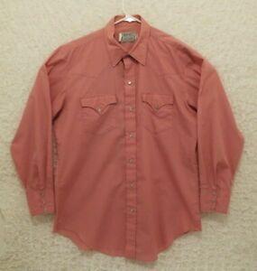Vintage-H-bar-C-Pink-Western-Shirt-Pearl-Snaps-Punk-Rockabilly-16-1-2-33